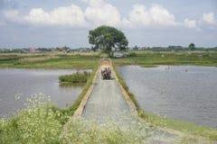 河内,越南- 2014年7月13日:小拖拉机在小路由湖负责在河内,越南的郊区 免版税库存照片