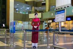 河内,越南- 2014年11月27日:微笑的越南妇女,越南国家航空公司的标志 照片纸被安置在Noi Bai机场 库存图片