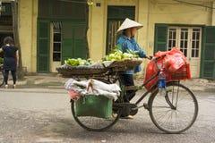 河内,越南- 2014年4月13日:未认出的食品厂家卖在河内街道,越南上的自行车运载的果子 看的老ho 免版税图库摄影