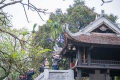 河内,越南3月12日: :一个柱子塔或Chua Mot轻便小床是 库存图片