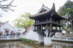 河内,越南3月12日: :一个柱子塔或Chua Mot轻便小床是 图库摄影