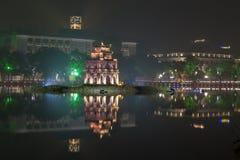 河内,越南- 12月01 :还剑湖看法  在Dece 库存图片