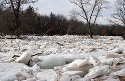 河冰果酱和洪水 免版税图库摄影