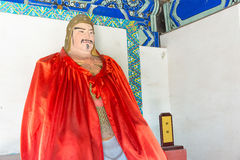 河北,中国- 2015年10月13日:在三义庙的关兴雕象 A 图库摄影
