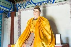 河北,中国- 2015年10月13日:在三义庙的刘禅雕象 F. stratocaster电吉他 库存照片