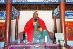 河北,中国- 2015年10月13日:在三义庙的官屿雕象 一fam 图库摄影