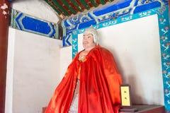 河北,中国- 2015年10月13日:在三义庙的张鲍雕象 A 免版税库存照片