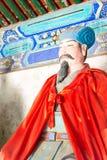 河北,中国- 2015年10月13日:在三义庙的诸葛亮雕象 免版税库存图片