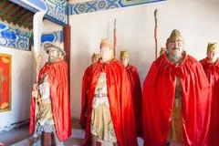 河北,中国- 2015年10月13日:在三义庙的雕象 著名喂 免版税库存图片