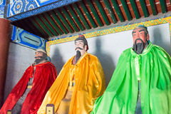 河北,中国- 2015年10月13日:在三义庙的Liubei雕象 一fam 库存照片