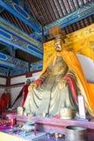 河北,中国- 2015年10月13日:在三义庙的Liubei雕象 一fam 免版税库存照片