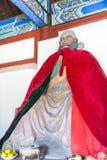 河北,中国- 2015年10月13日:在三义庙的Zhangfei雕象 F. stratocaster电吉他 免版税图库摄影