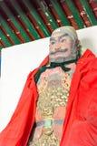 河北,中国- 2015年10月13日:在三义庙的Zhangfei雕象 F. stratocaster电吉他 图库摄影