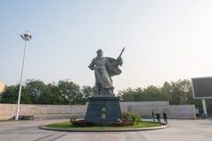 河北,中国- 2015年10月23日:在子龙广场的赵云雕象 库存图片