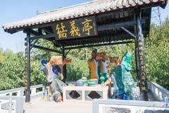 河北,中国- 2015年10月13日:在Zhangfei寺庙的雕象 一著名 库存照片