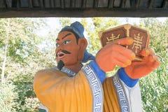 河北,中国- 2015年10月13日:在Zhangfei寺庙的Liubei雕象 A 免版税图库摄影