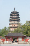 河北,中国- 2015年10月23日:天宁寺的Lingxiao塔 免版税库存图片