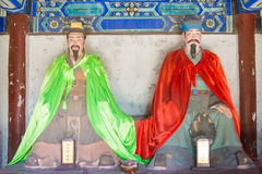 河北,中国- 2015年10月13日:庞统和诸葛亮雕象  库存照片