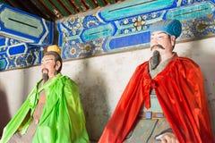 河北,中国- 2015年10月13日:庞统和诸葛亮雕象  免版税库存图片