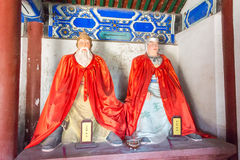 河北,中国- 2015年10月13日:黄忠和赵云雕象  库存图片