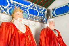 河北,中国- 2015年10月13日:黄忠和赵云雕象  免版税库存照片