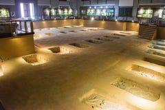 河南,中国- 2014年11月26日:商代皇家公墓 一famo 库存照片