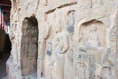 河南,中国- 2015年10月03日:在巩县洞穴的Budda雕象 库存图片