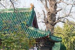 河南,中国- 2015年11月04日:在永泰寺的屋顶 著名他的 免版税库存照片