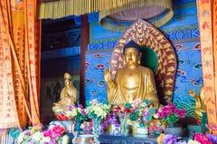 河南,中国- 2015年11月04日:在永泰寺的Budda雕象 F. stratocaster电吉他 库存照片
