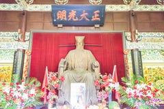 河南,中国- 2015年11月14日:在纪念寺庙的包拯雕象 免版税库存照片