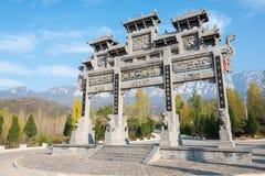 河南,中国- 2015年11月03日:在Mt的Panifang 松山风景区 免版税库存图片