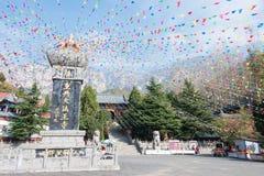 河南,中国- 2015年11月03日:法王寺 一著名历史坐 免版税库存图片