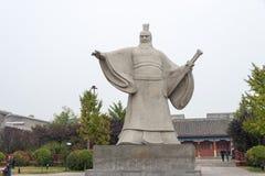 河南,中国- 2015年10月26日:雕象曹操(155-220) Weiwud的 库存照片