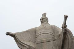 河南,中国- 2015年10月28日:雕象曹操(155-220) Weiwud的 免版税库存照片