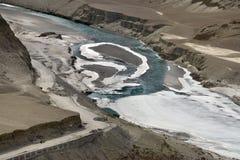 河印度斯和Zanskar的合流在冬天,运河用冰,蓝绿色水报道沿po是可看见的, 库存照片