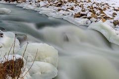 河向雪冰急流扔石头 免版税图库摄影