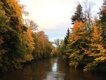 河和五颜六色的秋天树 库存照片