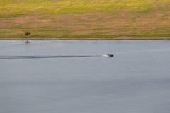 河和小山看法  在河漂浮有两条鱼的小船 库存图片