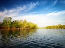 河和春天森林 免版税图库摄影
