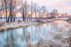 河和树在秋天在冬天早晨 库存图片