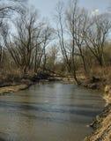 河和树宽看法与剧烈的云彩 库存照片