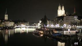 河和桥梁在塔之间在苏黎世瑞士 影视素材