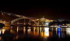 河和桥梁的夜场面在历史的波尔图葡萄牙 免版税库存照片