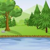 河和森林有山背景视图 库存图片