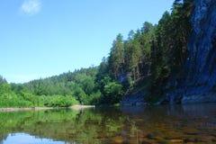 河和森林风景 库存图片