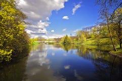 河和森林风景 图库摄影