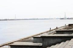 河和渔夫 免版税图库摄影