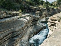 河和瀑布在西班牙,穆尔西亚,莫拉塔利亚 库存图片