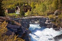 河和老石桥梁 免版税库存照片