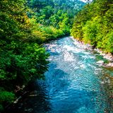 河和风景 免版税库存照片